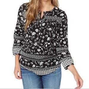 Lucky Brand Floral Peasant Henley Top
